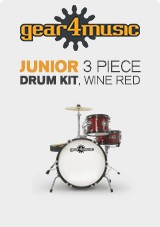 Junior 3 Piece Drum Kit by Gear4music, Wine Red